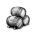 three wooden barrels for wine and other alcohol vector image