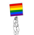 woman walking with lgbt gay pride banner sketch vector image vector image