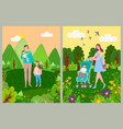 woman with children walking in forest or park vector image vector image