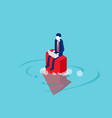 working with desperately sits on arrow vector image vector image