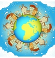 Decorative concept card with houses around Earth vector image