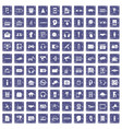 100 audio icons set grunge sapphire vector image vector image