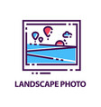 abstract flat logo with landscape photo vector image