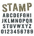 alphabet font stamp army design vector image vector image