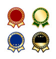 award ribbons isolated set gold green design vector image