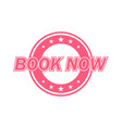 book now label red color isolated on white vector image vector image