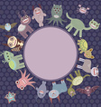 Card for your text in circle Funny cute dinosaur vector image vector image