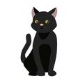 Cartoon blacck cat character vector image