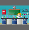cartoon girl doing chemical experiment in the labo vector image vector image