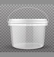 clear plastic bucket vector image