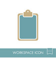 clipboard outline icon workspace sign vector image vector image