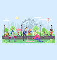 different people walking in park urban city vector image vector image