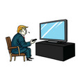 donald trump watching television cartoon vector image vector image