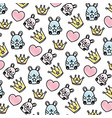 doodle metal crown with heart and mice background vector image