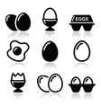 Egg fried egg egg box icons set vector image vector image
