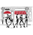 fashion woman in sketch style vector image vector image
