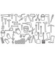 garden tools thin line icons set vector image