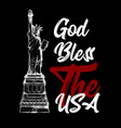 god bless the usa text with the statue of liberty vector image