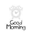 good morning with alarm clock vector image