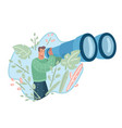 guy looking forward with giant binocular vector image vector image