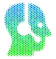halftone blue-green operator icon vector image vector image