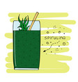 hand-drawn with drink of a spirulina in a glass vector image