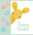happy easter greeting card with rabbit flowers vector image