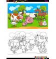 Happy farm animal characters group color book