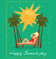 happy summer day card inscription stylish text vector image
