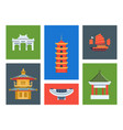 hong kong city landmarks set chinese cultural vector image