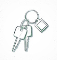 Isolated bunch of keys handmade in sketch style vector image vector image