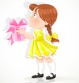 little girl in a yellow dress gives a gift vector image