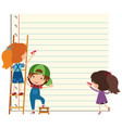paper template with happy children writing vector image