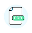 pdb file format extension color line icon vector image vector image