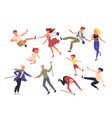 people fall set woman man and child falling vector image