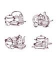piles of hand drawn kitchen utensils set vector image vector image