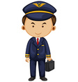 Pilot in blue suit carrying breifcase vector image vector image