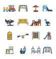 playground equipment icons set cartoon style vector image vector image