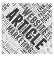 Problems in article marketing Word Cloud Concept vector image vector image