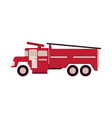 red firetruck with ladder isolated on white vector image vector image