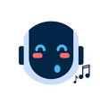 robot face icon singing smiling face emotion vector image vector image