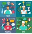 Rugby tennis volleyball golf sport icons vector image vector image