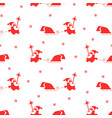 seamless pattern red silhouette of santa claus vector image vector image