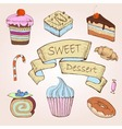 Set of cakes Decorative sketch vector image vector image