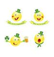 set of emoji smile icons on saint patricks vector image