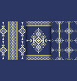 set of geometric patterns in ethnic style vector image vector image