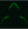 silhouette of a hacker vector image vector image