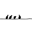 silhouettes of pigeons sitting on the wires vector image
