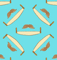 Sketch mustache and saw in vintage style vector image