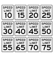 Speed Limit Sign Set vector image vector image